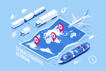 Global logistics network Flat 3d isometric vector illustration Icons set of air cargo trucking rail transportation maritime shipping On-time delivery Vehicles designed to carry large numbers of cargo