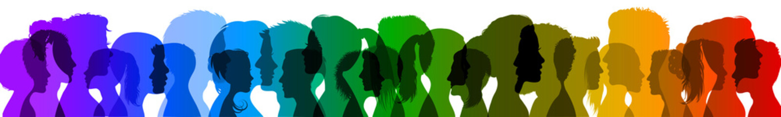 Group young people. Profile silhouette faces boys and girls – vector