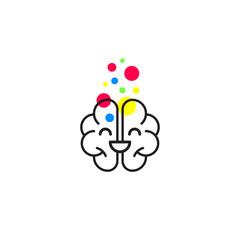 Smiling happy brain icon