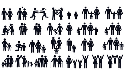 People and Family Symbols vector design black and white