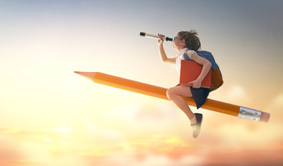 child flying on a pencil Fototapete