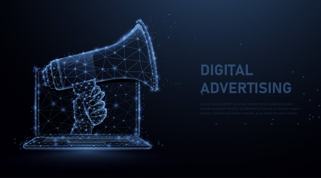 Hand holding megaphone coming out from laptop. Digital marketing, social media, network and advertising concept