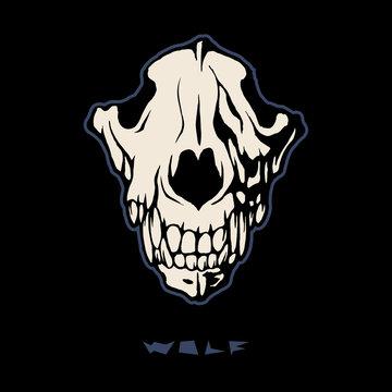 Angry wolf head, wolf skull vector logo design.