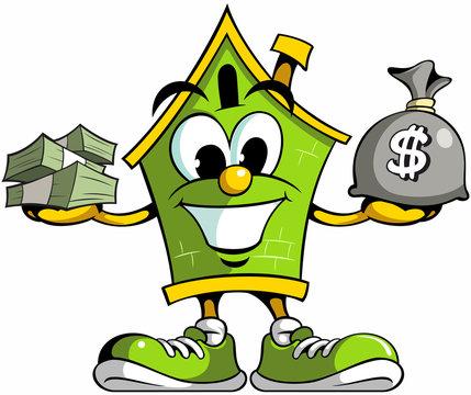 House cartoon mascot logo holding bag of money, house cartoon character with the cash money.
