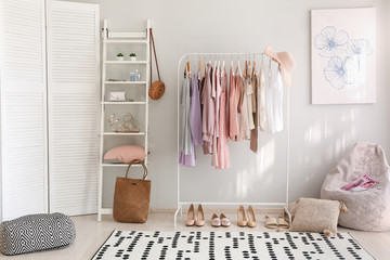 Stylish interior of dressing room at home