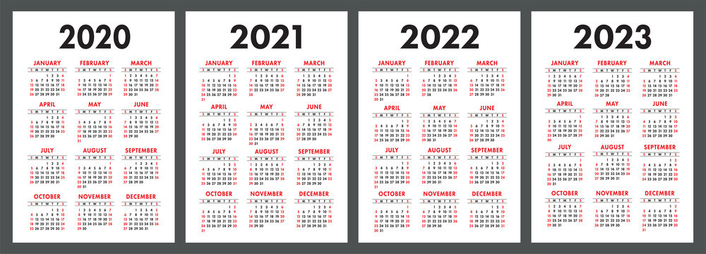 Calendar 2020, 2021, 2022 and 2023. English color vector set. Vertical wall or pocket calender template. Design collection. New year. Week starts on Sunday