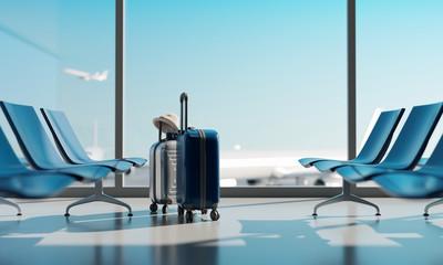 Suitcases in airport. Travel concept. 3d rendering Fotobehang
