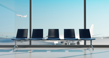 Wall Mural - Airport lounge with airplane blurred background. 3d rendering