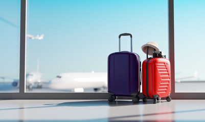 Wall Mural - Suitcases in airport. Travel concept. 3d rendering