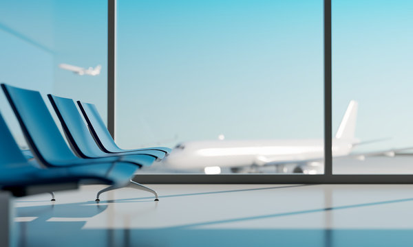 Airport lounge with airplane blurred background. 3d rendering