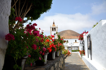 Flower Decorated Alley with White Houses in Betancuria, Fuerteventura