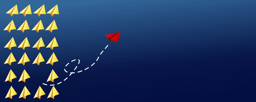 leadership or different concept with red and yellow paper airplane on blue background. Digital craft in education or travel concept. Mock up design. abstract illustration