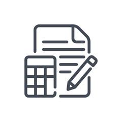 Calculation line icon. Examination vector outline sign.