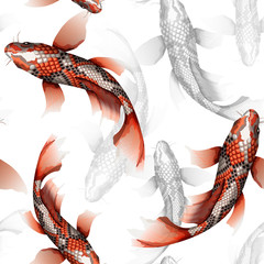 Koi carps, traditional colorful japanese fish detailed vector seamless pattern