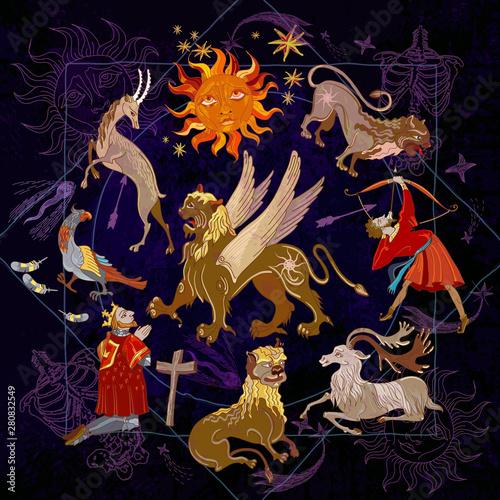 Medieval alchemy background  Mystic astrology symbols and