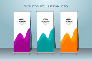 Creative roll up banner stand template design. Vertical banner template.  Universal standing banner for conference, promotion banner vector background.  Modern publication x-banner and flag-banner.