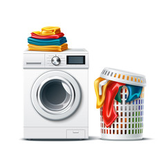 Obraz Realistic washing machine with fresh clean folded clothing and laundry basket with dirty cloth. Modern laundromat, 3d laundry, washing appliance for household chores. Vector bathroom equipment - fototapety do salonu