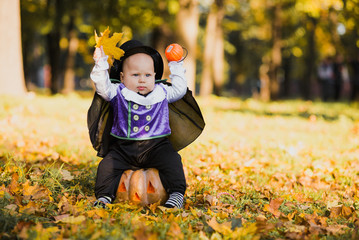 Poster - Cute baby boy in vampire costume sitting on pumpkin in autumn forest, halloween