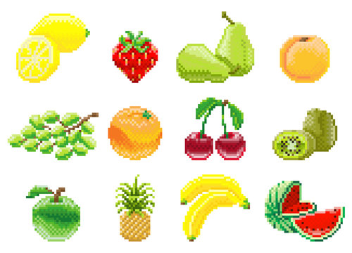A set of fruit icons in a pixel 8 bit video game art style