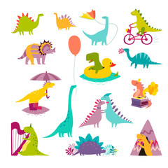 Dinosaur big funny set vector illustration. Cute T-rex cartoon style. Dino colorful character isolated on white background