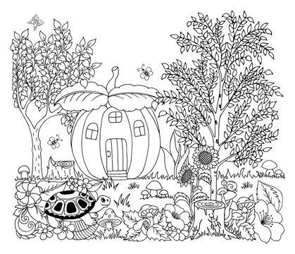 Vector illustration zentangl. A tortoise on a meadow near the pumpkin house. Coloring book. Anti-stress for adults and children. The work is done in manual mode. Black and white.