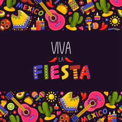 Mexican fiesta background, traditional decoration and design