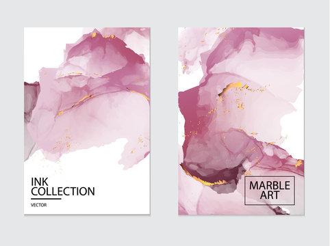 Vip luxury design. Marble watercolor splash, pink tender flow design. Gold glitter foil. Business template, greeting or invitation card. Modern art