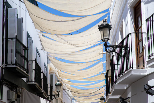 Sun Shade Sails in the charming streets of Nerja, Spain