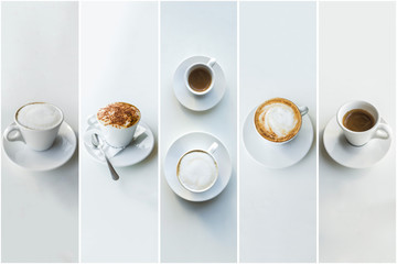 Collage in the form of vertical stripes showing different pictures of tasty coffee