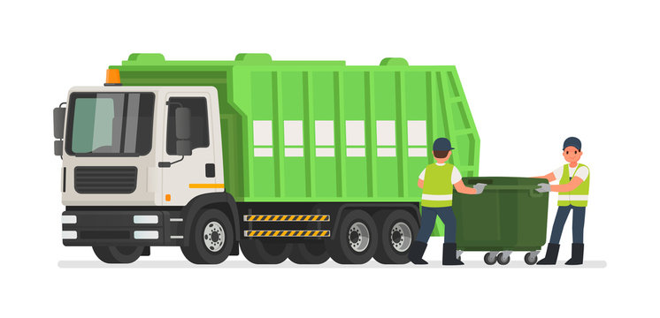 Garbage truck and dustmen. Scavengers workers clean the trash can