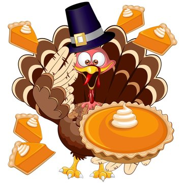 Turkey Happy Thanksgiving Character with Pumpkin Pie Vector Illustration