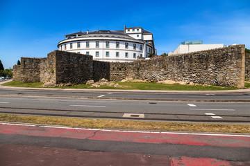 La Coruna, Spain. Abente and Lago Hospital and the medieval walls