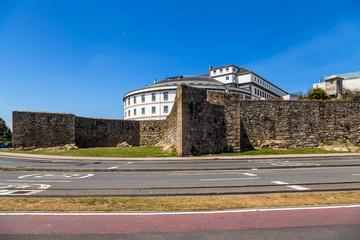 La Coruna, Spain. Hospital Abente and Lago behind the medieval walls