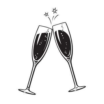 Two sparkling glasses of champagne or wine. Cheers icon. Retro style vector illustration on white background.