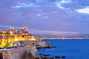 Antibes historic old town seafront and landmarks dawn view Fototapete