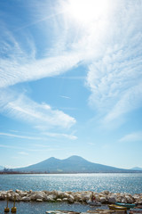 Fotobehang Napels Naples, Campania, Italy. View of the bay, sea and Mount Vesuvius Volcano as a background