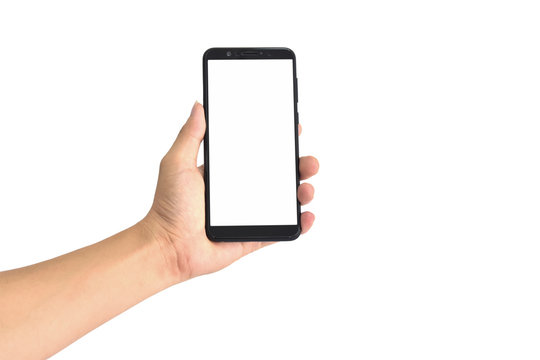 Hand holding black smartphone with blank screen, isolated on white background. with clipping path.