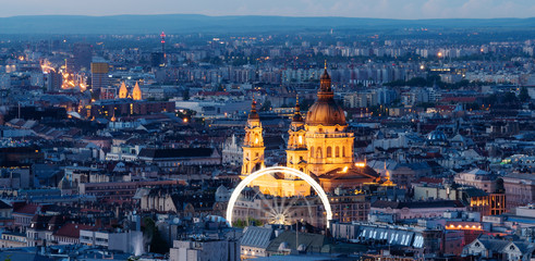Wall Mural - Panoramic, Budapest city skyline and St. Stephen's Basilica in twilight