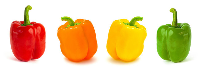 set of colored bell peppers isolated on white background