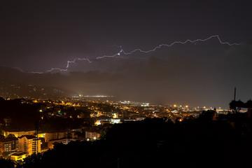 Lightning on the Ligurian Sea, Tigullio gulf - Chiavari, Lavagna and Sestri Levante