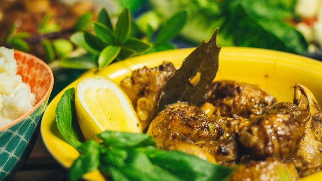 Chicken Hearts Dish with Lemon and Garnish