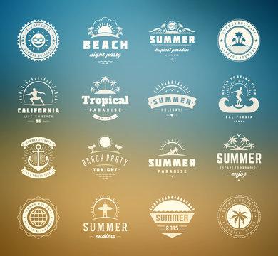 Summer holidays labels and badges retro typography design set vector illustration.