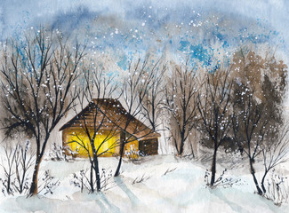 Watercolor picture of a log cabin in winter snowy forest with dark clouds and falling snow