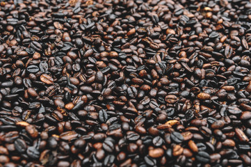 Traditional Ethiopian coffee beans roasting, Roasted coffee bean pile