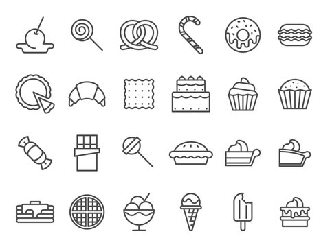 Sweet dessert icons. Sweetly cake, sweets ice cream and muffin cakes. Desserts line art pancakes, celebration chocolate cookies or cheesecream tart bakery dessert. Isolated vector icon set