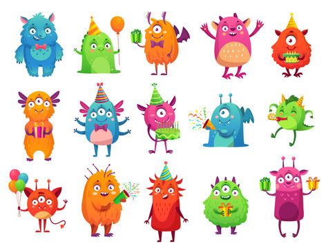 Cartoon party monsters. Cute monster happy birthday gifts, funny alien mascot and monster with greeting cake. bigfoot, troll and silly alien toys. Isolated vector illustration icons set