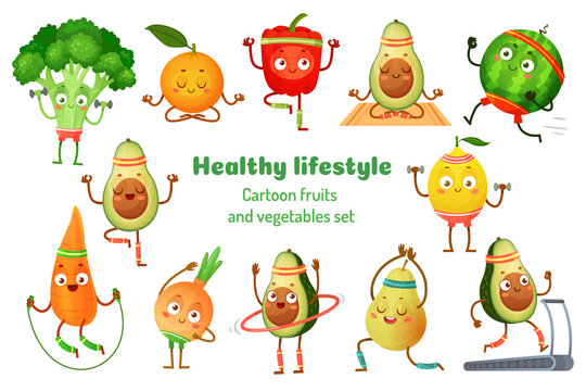 Sport fruits and vegetables. Healthy lifestyle mascots, fruit sports exercise and avocado yoga workout. Gym fitness vegetable charecter. Cartoon isolated vector illustration icons set