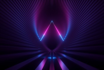 3d render, pink blue neon abstract background with glowing triangle lines, ultraviolet light, laser show, wall reflection, triangular shape Wall mural