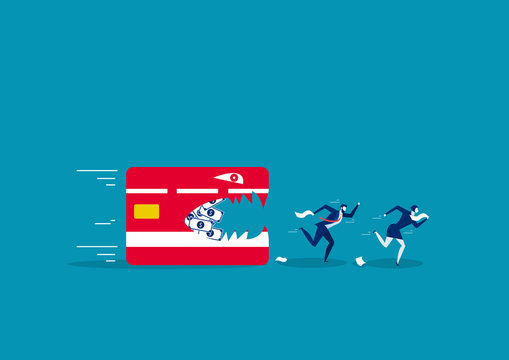 two business running away from credit card. Creative vector illustration on debt