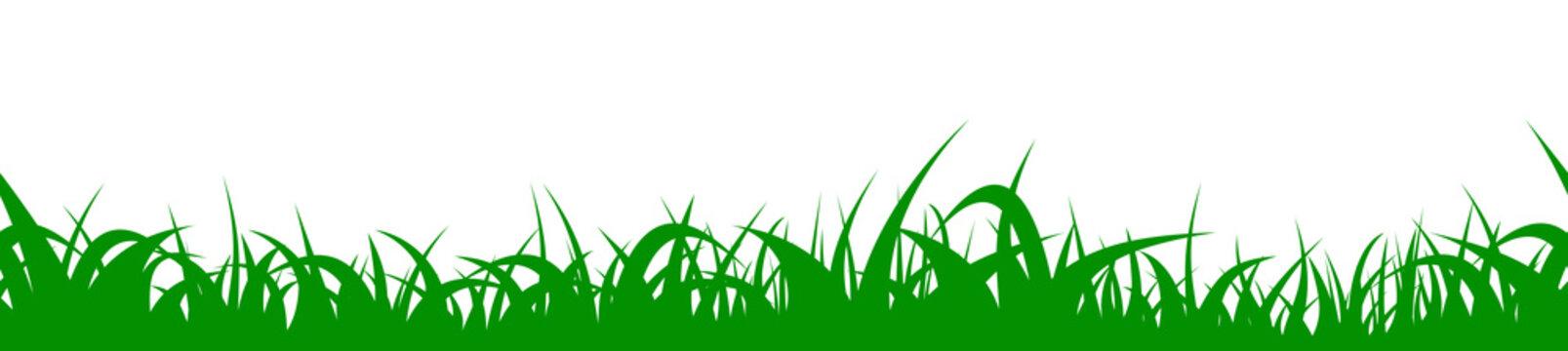 Green grass seamless border. Vector repeatable meadow.